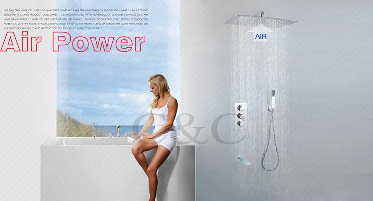 Bathroom Rainfall Bath Faucet Set Thermostatic Shower Faucet Valve UFO Ultra thin Air Drop Rain Shower