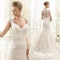 Romantic white lace wedding dresses mermaid bridal gowns cap sleeve