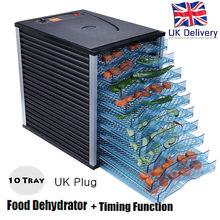 UK GZJ 10T 800W Food Dehydrator Timing Function Europlug 10 Tray Fruit Vegetable meat Dryer Drying