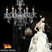 EU SJD 6 Elegant Crystal Chandelier Modern Lamp Pendant Romantic Candle Lighting Droplight 6 Lights Local