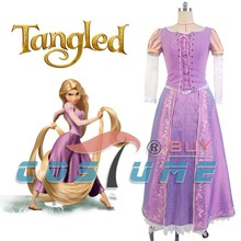 Tangled Princess Rapunzel Women Girls Pink Long Dress Party Cosplay Costume New Arrival Free Shipping