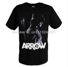 Green Arrow Oliver Queen TV Cosplay Costume Black Print Men Summer Short Sleeve Round Neck T