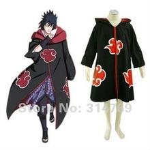 Free Shipping Naruto Cosplay Costume Naruto Akatsuki Cloak Costume with Hat Hawk Team Sasuke Uchiha Halloween