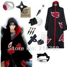 Free Shipping Apparel Naruto Cosplay Costum Naruto Akatsuki Itachi Uchiha Cosplay Costume Set Halloween Costumes Party