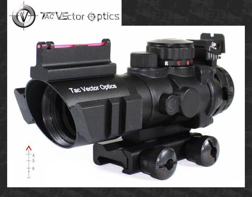 Vector Optics Goliath 4x32 Tactical Compact Riflescope Fiber Optics Sight Tri Illumination Chevron Reticle