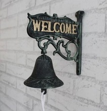 Antique Cast Iron WELCOME Dinner Bell Wall Mounted Home Wall Decor Bell Garden Free Shipping Welcome