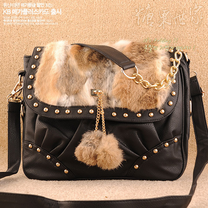 Real fur black changgushuan hair ball rabbit fur casual sports preppy style knitted horsehair color block one shoulder women's(China (Mainland))