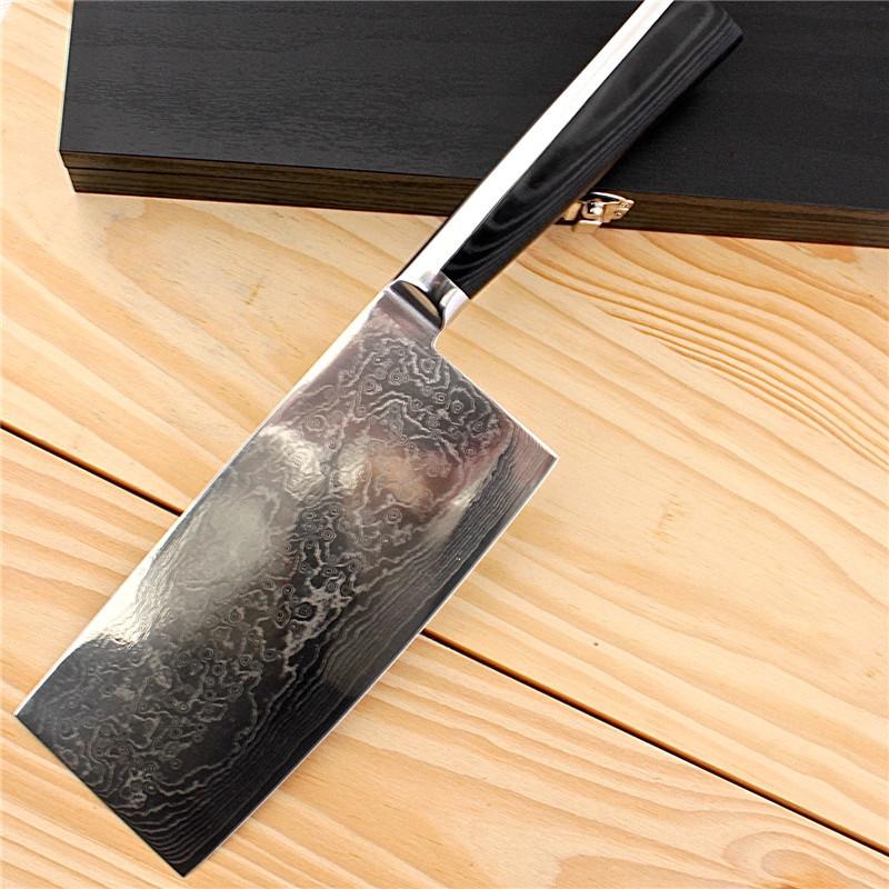 damascus kitchen knives short wall cabinets 大马士革德国7寸中式菜刀厨师刀千层钢锻打厨房刀具 优质企商网 大马士革厨房刀具