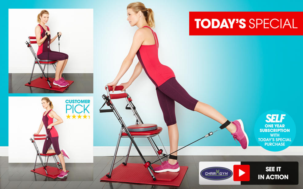 chair gym exercise system with twister seat patio repair service hsn mat 4 dvds and 1 year self subscription tvshoppingqueens