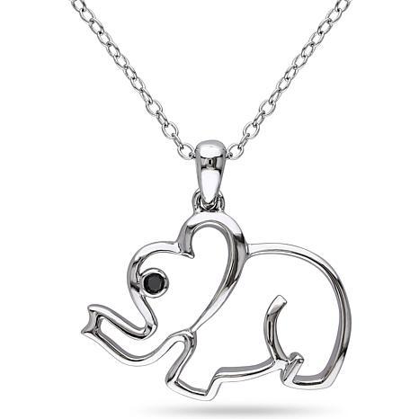 .015ctw Black Diamond Elephant Pendant with Sterling