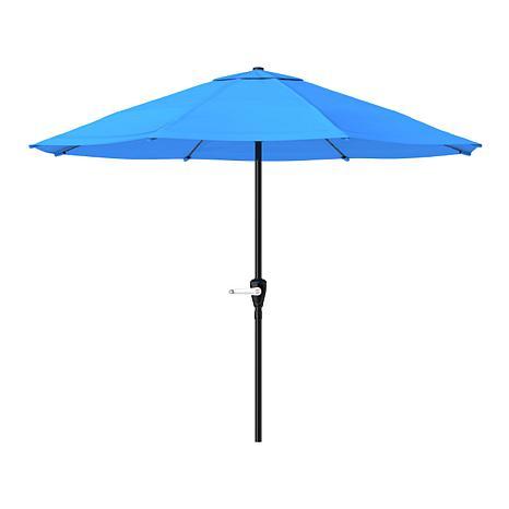 9 patio umbrella with easy crank brilliant blue