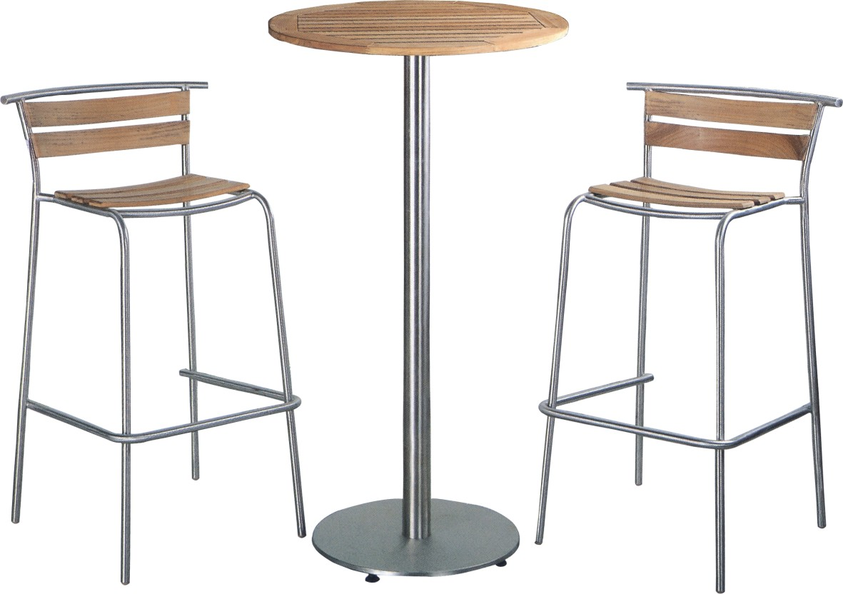 bar table chairs folding ergonomic teak wood and chair stainless steel furniture