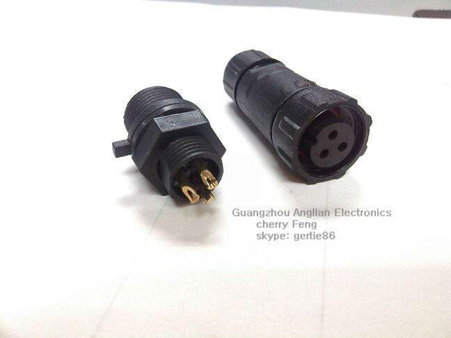 1fa821f09776 무료 배송! 3 핀 패널 장착 소켓, M14 방수 와이어 커넥터, IP68 등급의 ...