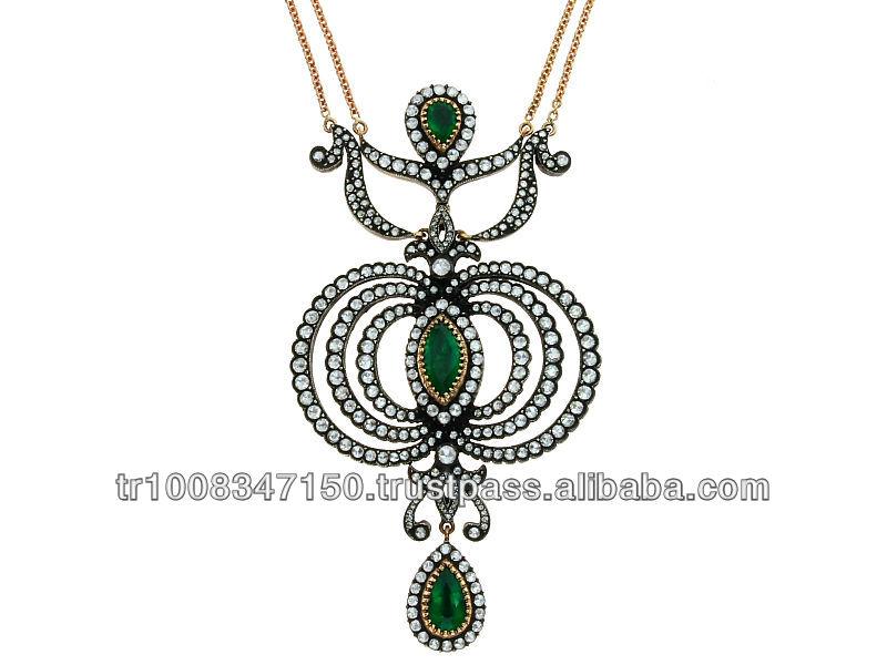 8k 14k 18k Gold Rose Cut Diamond,Emerald Necklace Classic