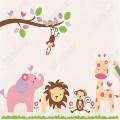 Wall stickers cartoon nursery girls childrens bedroom wall art decals