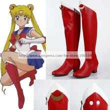 Sailor Moon Serena Tsukino Cosplay Shoes Red Hight Heel Shoes Lady Boots Shoes