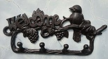 Rural Cast Iron Decorative Bird on Branch WELCOME Wall Hook Key Rack Holder Home Yard Garden