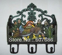 Vintage Wall Mount Cast Iron Painted Mandarin Duck Key and Mail Paper Letter Rack Holders with
