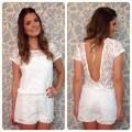 White lace backless jumpsuit women fashion short sleeve vestidos