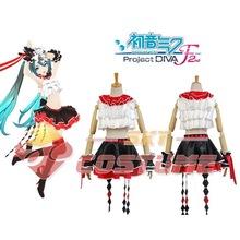2015 Hot Vocaloid Project DIVA F 2nd MIKU Jacquard Weave Japanese Women Dresses Cosplay Girls Costume