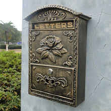 Cast Iron Flower Mailbox Embossed Trim Decor Bronze Look Free Shipping Home Garden Decorative Wall Metal