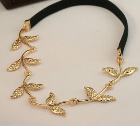 fashion new designer leaf wedding hair accessories 18k gold plated leaf metal hairband af060 in