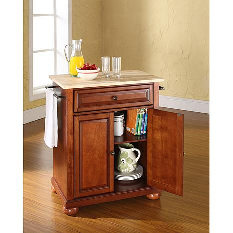crosley alexandria kitchen island under cabinet lighting natural wood top portable ...