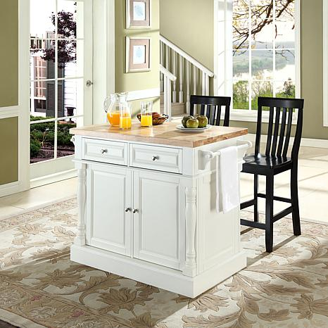 crosley kitchen island triangle table butcher block top with black barstools white 7743720 hsn