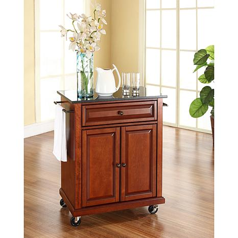 crosley kitchen cart cheap faucets with sprayer solid black granite top portable classic cherry finish 7743753 hsn