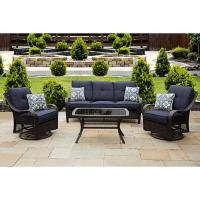 Hanover Orleans 4-Piece Brown Patio Set - Navy Blue ...