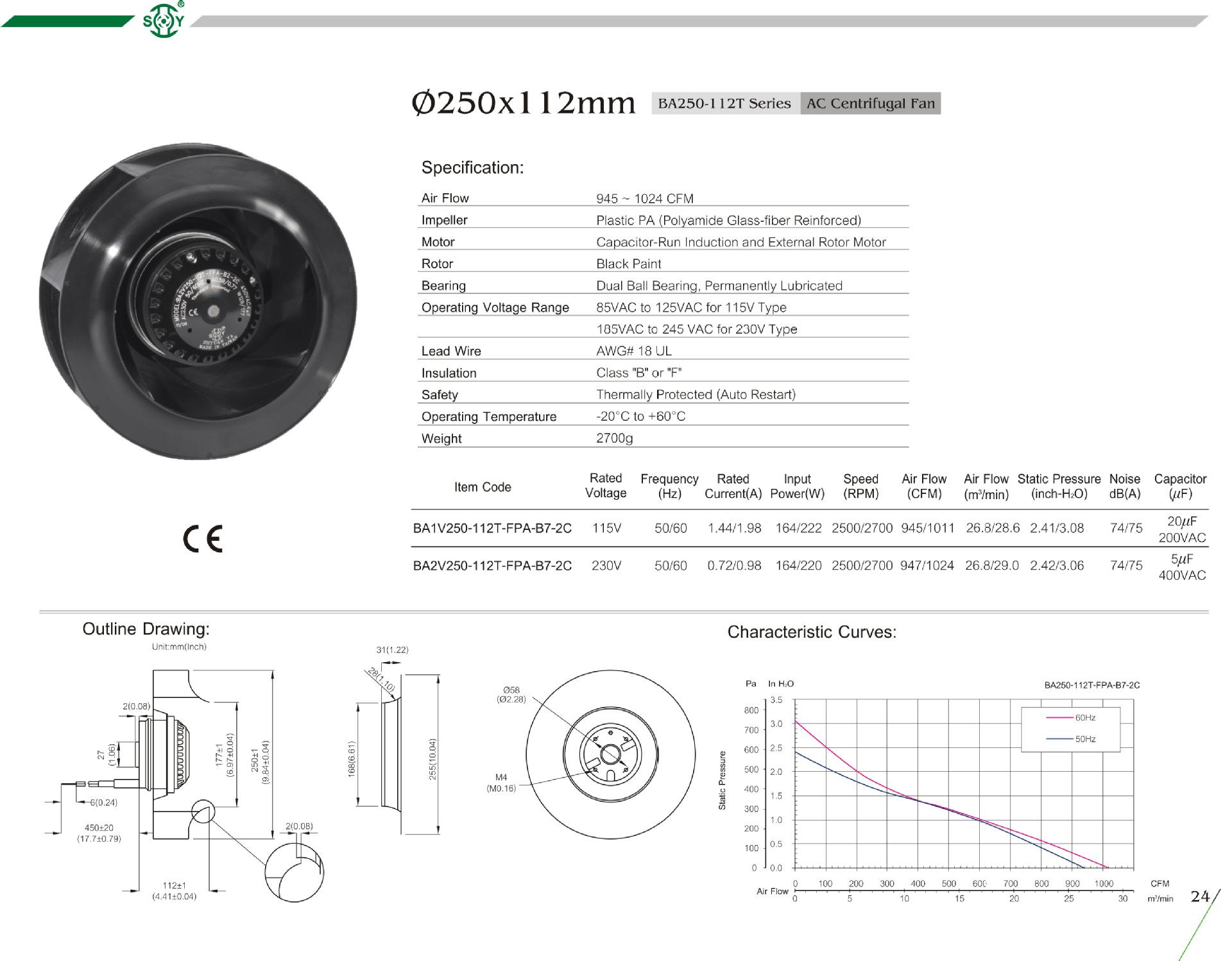 Backward Curved 110v 220v 230v Centrifugal Fan