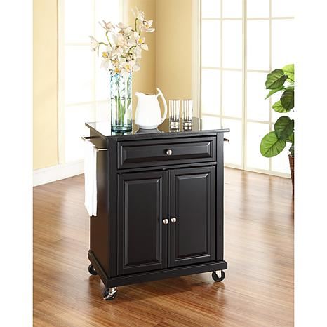 granite top kitchen cart height of stools for island solid black portable 10069273 hsn