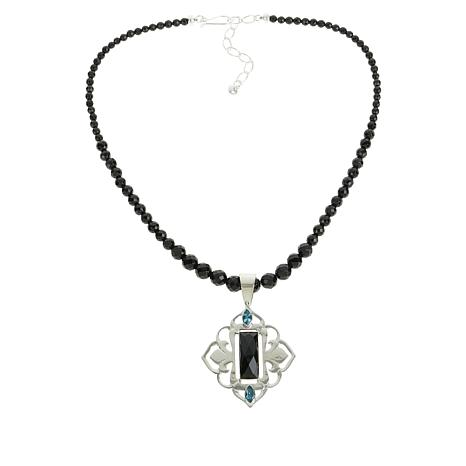 Jay King Blue Topaz and Midnight Chalcedony Pendant