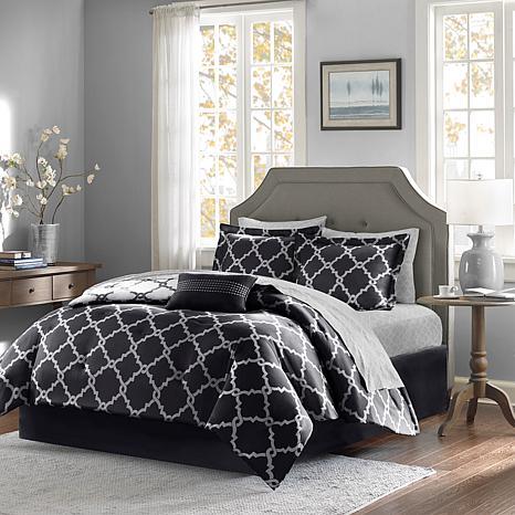 madison park essentials merritt 9 piece reversible comforter and sheet set queen black