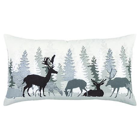 rizzy home woodland deer landscape 14 x 26 decorative throw pillow