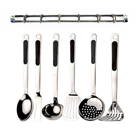 kitchen tool set drainer basket berghoff 7 piece utensil with wall rack 7713121 hsn