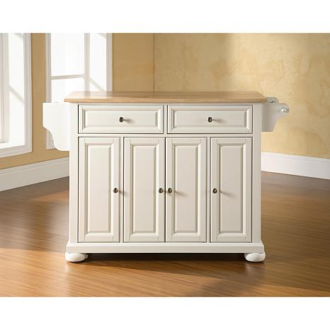 crosley alexandria kitchen island faucet types natural wood top white 7743689 hsn