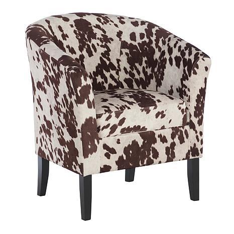 cow print chair best bean bag chairs for dorms linon home jackson club brown 8595937 hsn