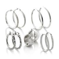 Stately Steel Set of 5 Hoop Earrings - 7371339 | HSN