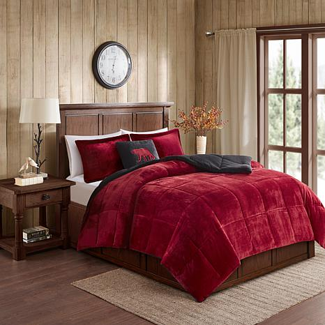 woolrich alton 4 pc red black plush to sherpa full queen comforter set