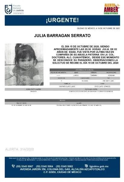 Activan Alerta Amber para localizar a Julia Barragan Serrato.