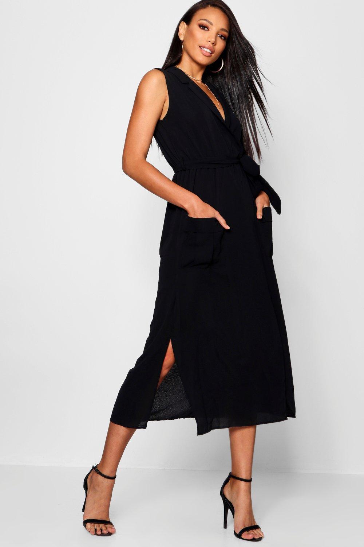 Midi Sleeveless Dress Shirt