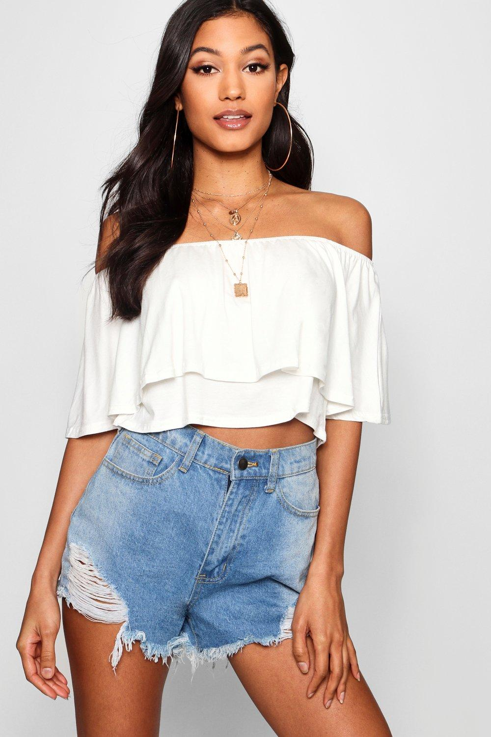 Off the Shoulder Crop Top Shirt
