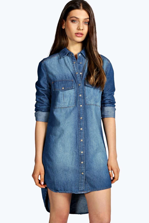 Boohoo Womens Keelie Longline Denim Shirt Dress