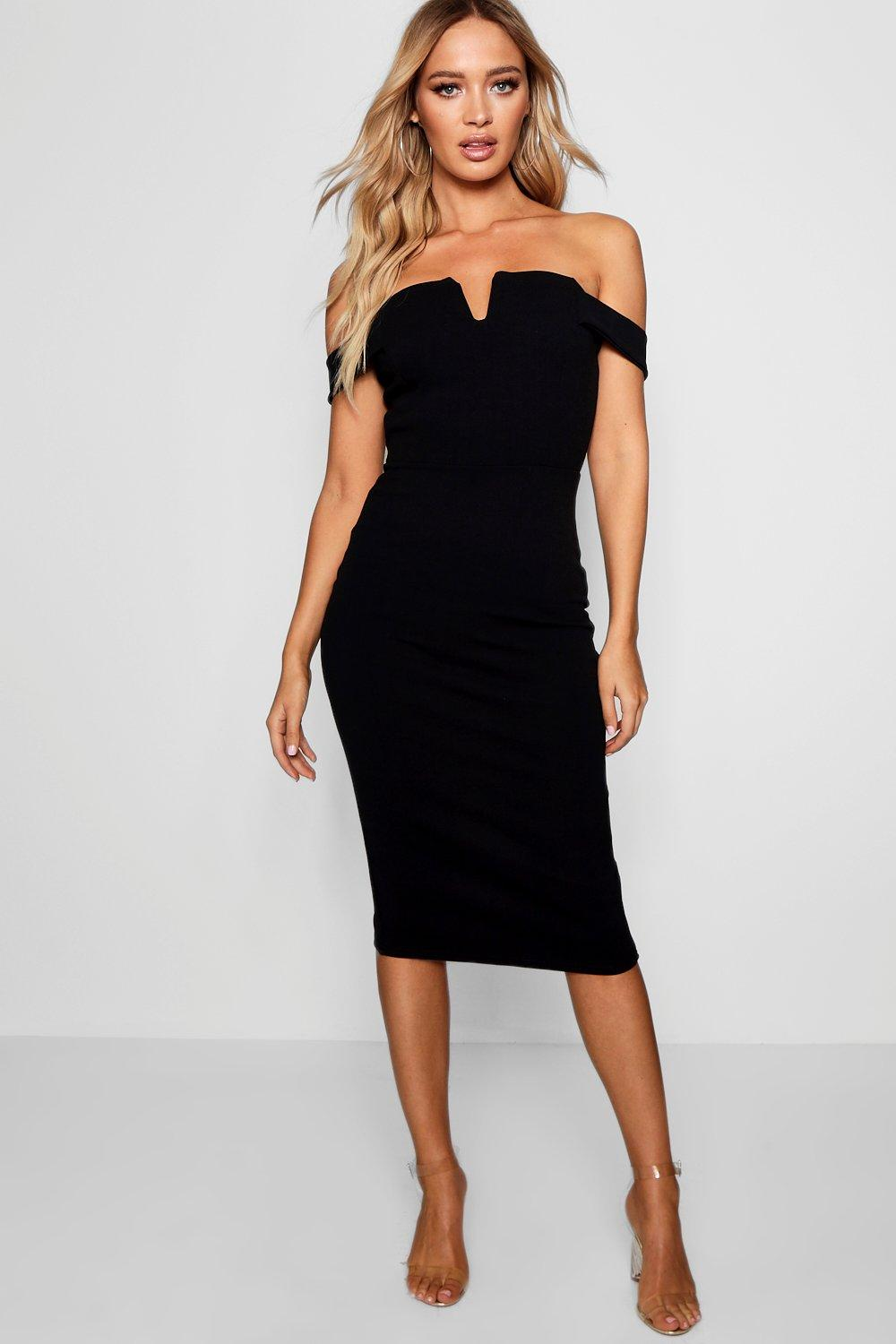 Off Shoulder Midi Bodycon Dresses