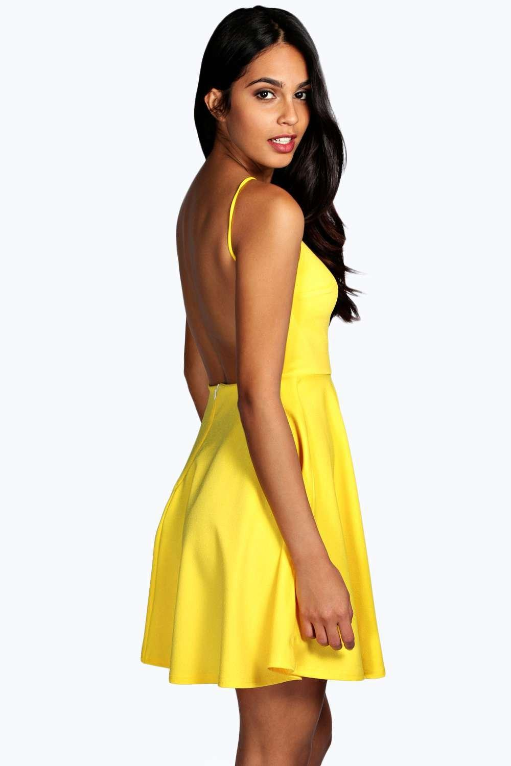 Boohoo Womens Nancy Crepe Strappy Backless Skater Dress