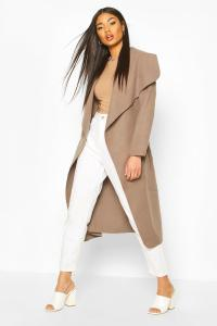 Boohoo Womens Kate Belted Shawl Collar Coat
