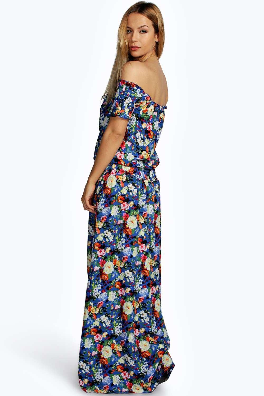 Boohoo Womens Bea Woven Floral Shoulder Maxi Dress