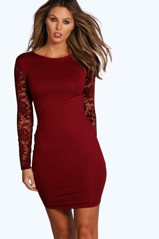 lace sleeve bodycon dress