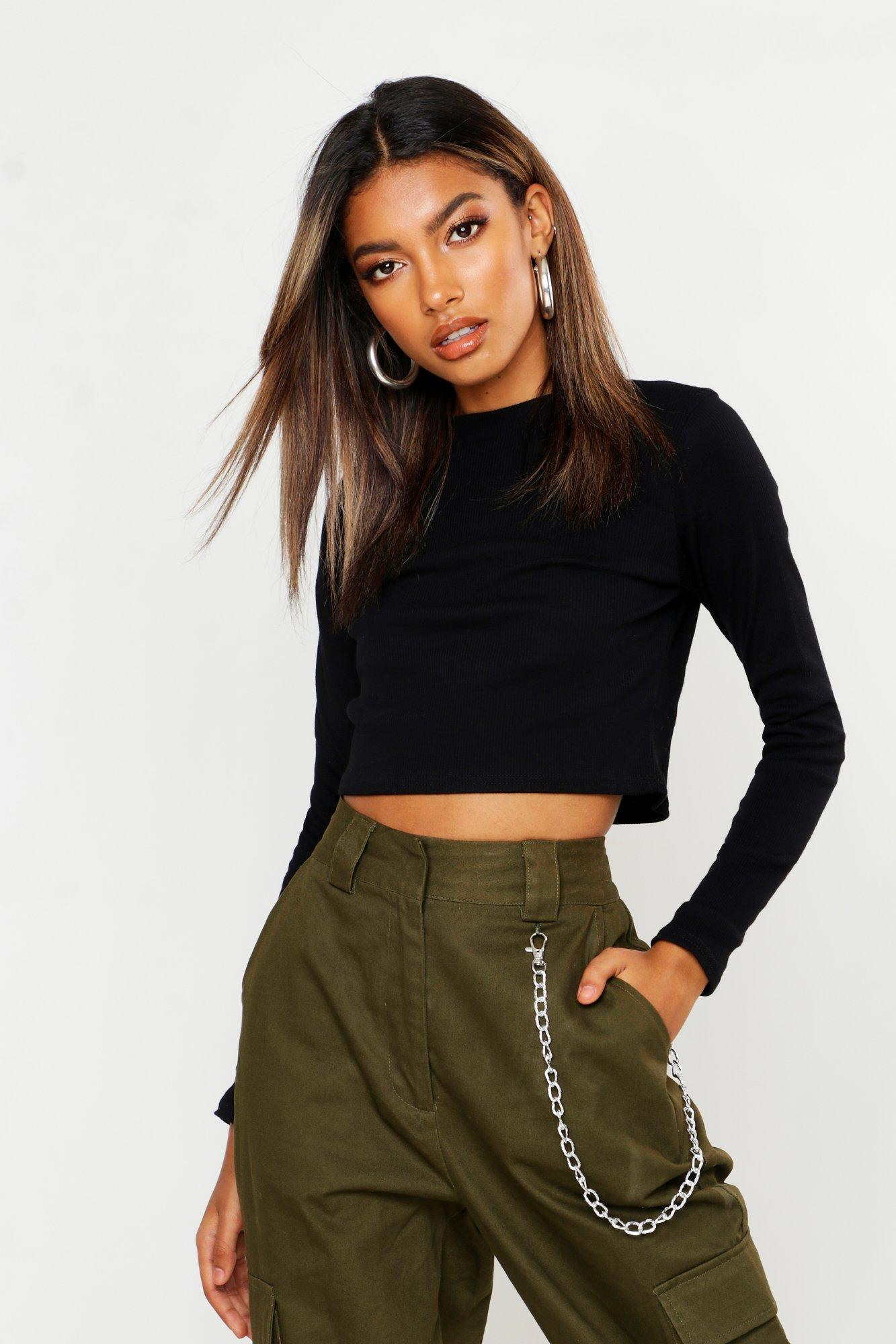 Boohoo Womens Lucy Ribbed Turtle Neck Long Sleeve Crop Top